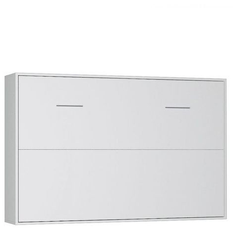 Armoire lit horizontale escamotable STRADA-V2 blanc mat couchage 140*200 cm.