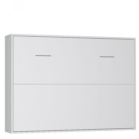 Armoire lit horizontale escamotable STRADA-V2 blanc mat couchage 160*200 cm.