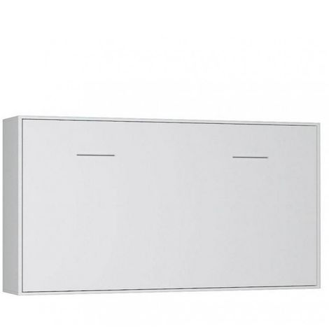 Armoire lit horizontale escamotable STRADA-V2 blanc mat couchage 90*200 cm.