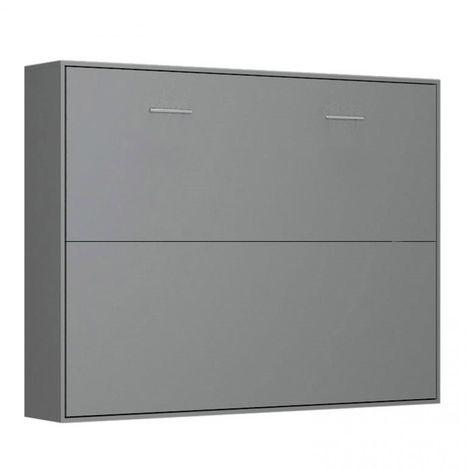 Armoire lit horizontale escamotable STRADA-V2 gris graphite mat couchage 160*200 cm. - gris