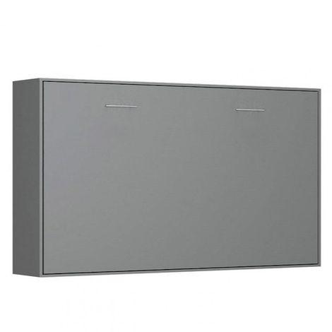 Armoire lit horizontale escamotable STRADA-V2 gris graphite mat couchage 90*200 cm. - gris