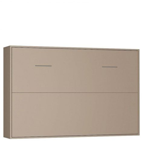 Armoire lit horizontale escamotable STRADA-V2 taupe mat couchage 140*200 cm.
