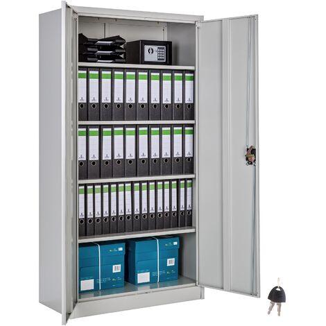 Armoire Metallique De Bureau De Rangement 4 Etageres Reglables 90 Cm X 40 Cm X 180 Cm Gris 402483