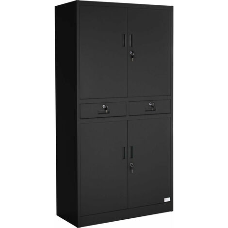 Armoire métallique étagère meuble 2 compartiments + 2 tiroirs noir