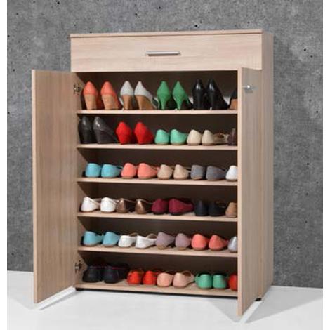 """main image of """"Armoire meuble à chaussures chêne sonoma avec 2 portes et 1 tiroir - Dim : L 89 x H 120 x P 37 cm"""""""