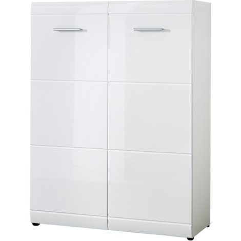 armoire meuble chaussures en mdf coloris blanc brillant. Black Bedroom Furniture Sets. Home Design Ideas
