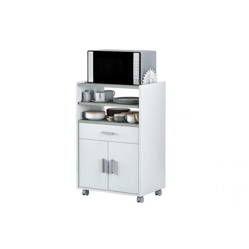 Pegane - Armoire Micro-Ondes 1 Tiroir et 2 Portes coloris Blanc Artik et béton - 92 x 59 x 40 cm