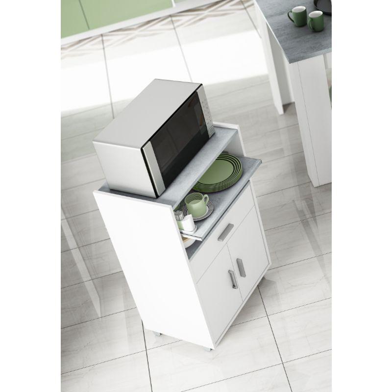 Caesaroo - Armoire micro-ondes 92 cm Blanc Matt et Ciment avec deux portes et un tiroir | Blanc