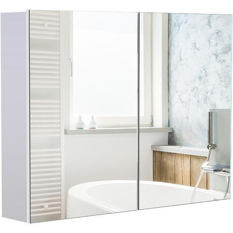 Armoire miroir de salle de bain armoire murale double portes et étagères dim. 80L x 15l x 60H cm MDF blanc - Gris
