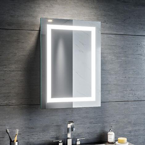 Armoire miroir de salle de bain éclairage avec la prise rasoir porte pratique, SIRHONA