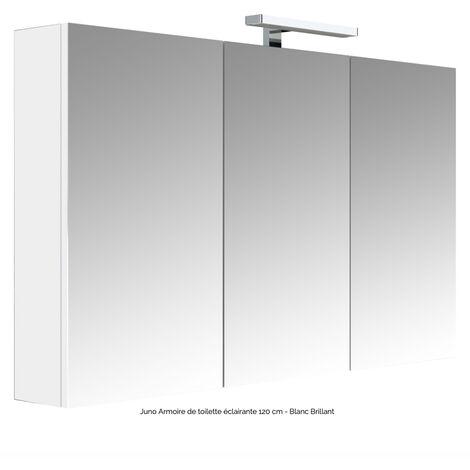 """main image of """"Armoire de toilette éclairante 120 cm JUNO 3 portes miroir éclairage LED et bloc prise couleur chêne"""""""