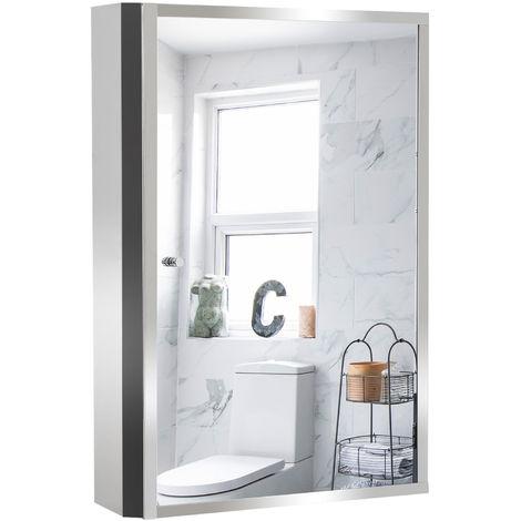 Armoire miroir murale de salle de bain acier inoxydable 3 niveaux de rangement 40L x 13l x 60H cm