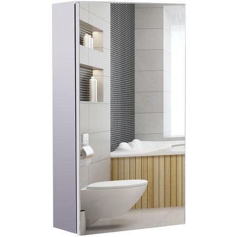Armoire miroir rangement toilette salle de bain meuble mural dim. 30L x 14l x 55H cm acier inox.