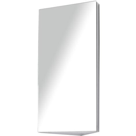 """main image of """"Armoire miroir salle de bain armoire de toilette murale meuble d'angle 2 étagères dim. 30L x 18,4l x 60H cm acier inox. - Gris"""""""