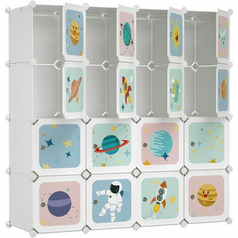 Armoire modulable, Placard de rangement portable, Organisateur vêtements enfant, avec 16 Cubes, 4 Rails Suspendus, 123 x 41 x 123 cm, Blanc LPC905W01 - Blanc
