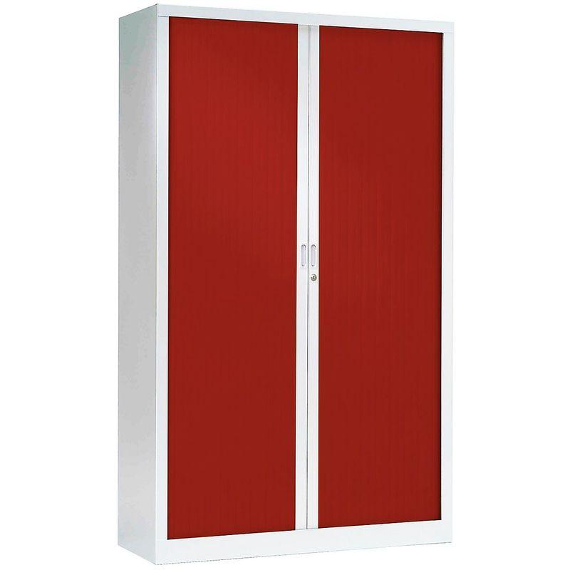 Pierre Henry - Armoire à rideaux ignifuge M1   Blanc   Rouge   HxLxP 1980 x 1200 x 430 Blanc   Rouge