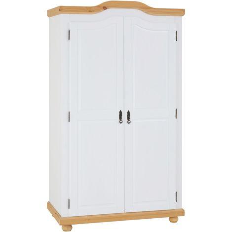 Armoire MÜNCHEN dressing penderie rangement vêtements avec 2 portes battantes 1 étagère et 1 tringle, en pin massif lasuré blanc