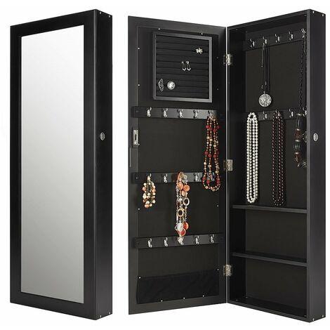 Armoire murale Cabinet à bijoux Coffret à miroir Armoire matinale Noir Miroir blanc