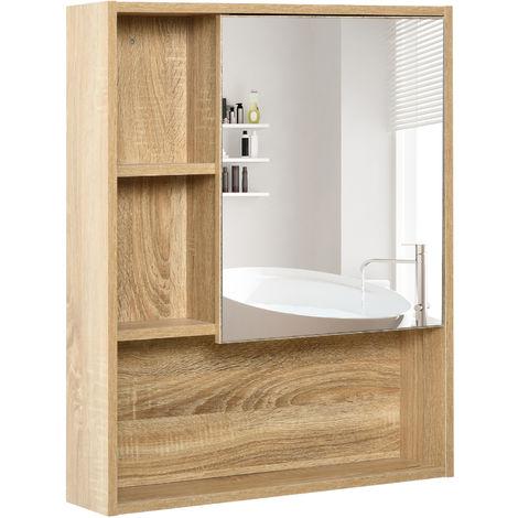 Armoire murale de rangement salle de bain avec porte miroir couleur bois de chêne dim. 60L x 15l ...