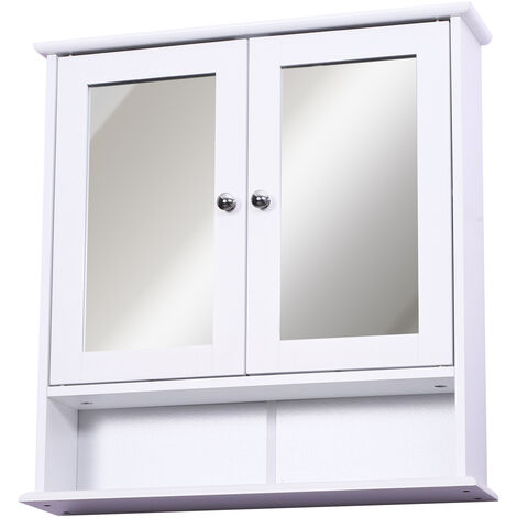 """main image of """"Armoire murale étagère salle de bain 56L x 13l x 58H cm double porte miroir étagère réglable MDF blanc - Blanc"""""""