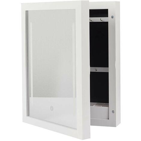 Armoire murale - Miroir LED - L 30,4 cm x l 8,6 cm x H 40 cm - Blanc - Livraison gratuite