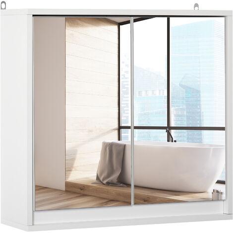Armoire murale miroir salle de bain 2 étagères dim. 48L x 14l x 45H cm panneaux particules MDF blanc - Blanc