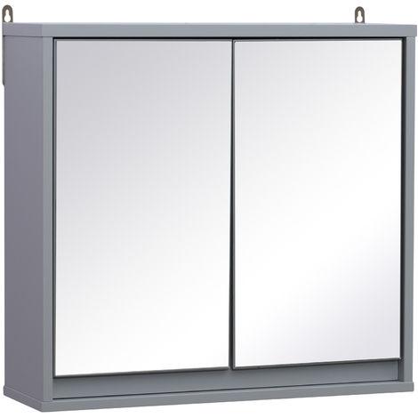Armoire murale miroir salle de bain 2 étagères dim. 48L x 15l x 45H ...