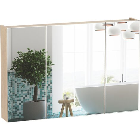 Armoire murale miroir salle de bain 3 portes 3 étagères dim. 90L x 14l x 60H cm panneaux particules chêne clair - Beige