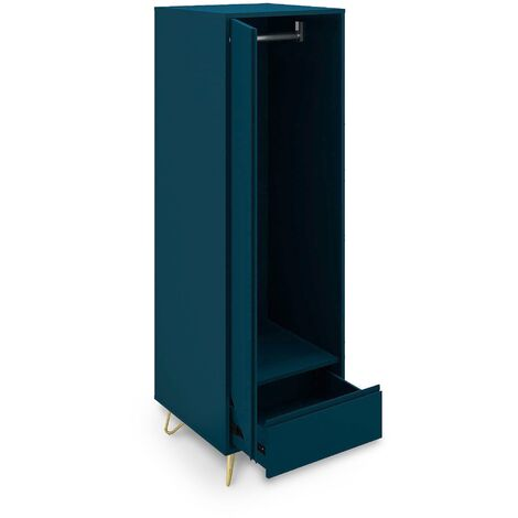 Armoire penderie 1 porte 1 tiroir bleu canard DARINA