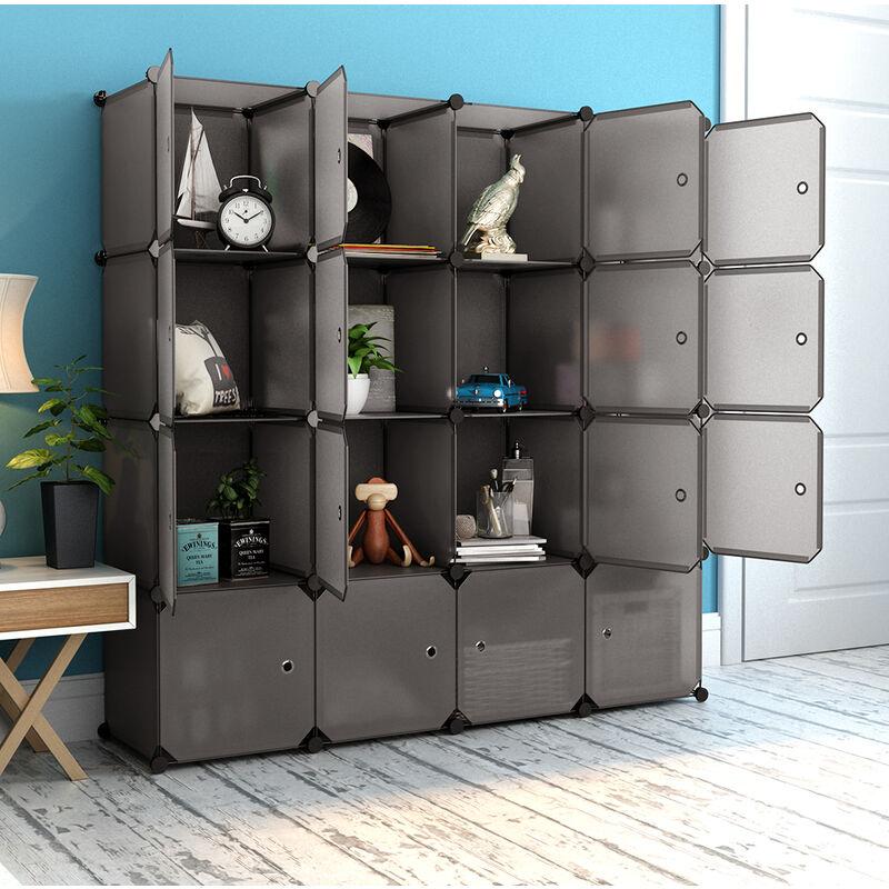 Armoire Penderie 16 Cubes avec Portes Étagère Modulable Meuble Rangement  Chambre pour Vêtements Chaussures Jouets Marron