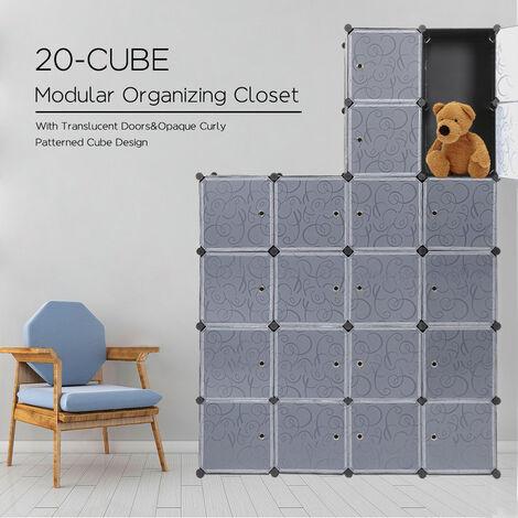 armoire penderie 20 cubes tag re de rangement modulables. Black Bedroom Furniture Sets. Home Design Ideas