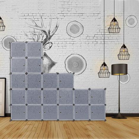 Armoire Penderie 20 Cubes Modulable Meuble Etagères de Rangement Motif de Fleur Bouclé pour Vêtements/ Chaussures
