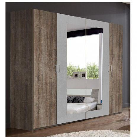 Armoire penderie 4 portes JANA largeur 225 chêne châtaigne / gris béton