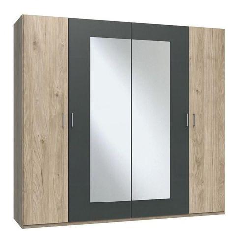 Armoire penderie 4 portes JANA largeur 225 chêne clair / graphite