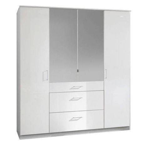 Armoire COOPER 4 portes 3 tiroirs largeur 179 cm laqué blanc  - blanc