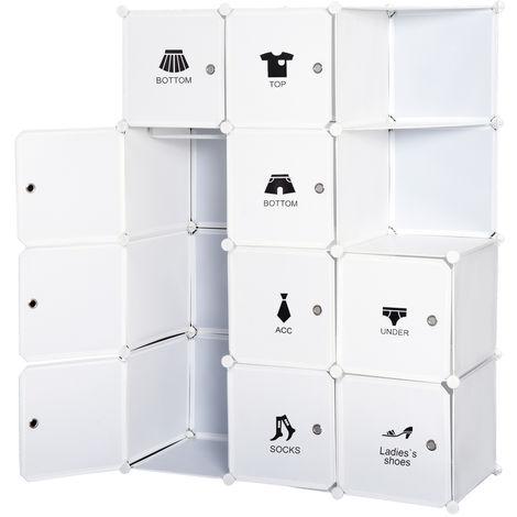 Armoire penderie cube multi-rangements 10 cubes + 2 étagères + autocollants décoratifs 111L x 47l x 145H cm blanc
