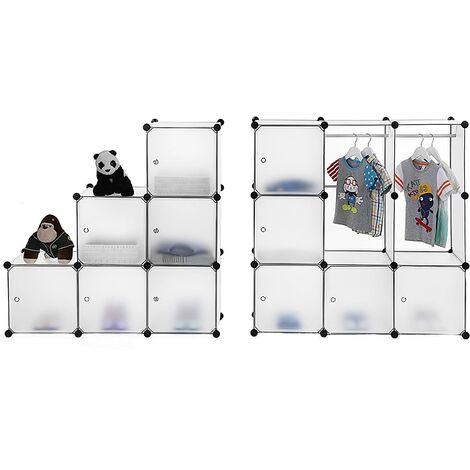 Armoire Penderie Cubes/étagère de rangement modulables plastiques cadre en métal Blanc (2 barres à vêtement) 180 x 145 x 37cm LPC30W