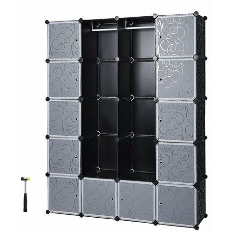 Armoire Penderie Cubes/étagère de rangement modulables plastiques imprimé cadre en métal noir et blanc LPC30H