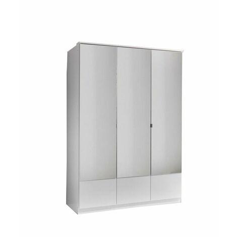 Armoire penderie DINGLE 3 portes miroirs 3 tiroirs largeur 135 blanche