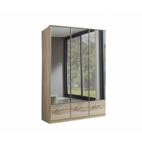 Armoire penderie DINGLE 3 portes miroirs 3 tiroirs largeur 135 chêne