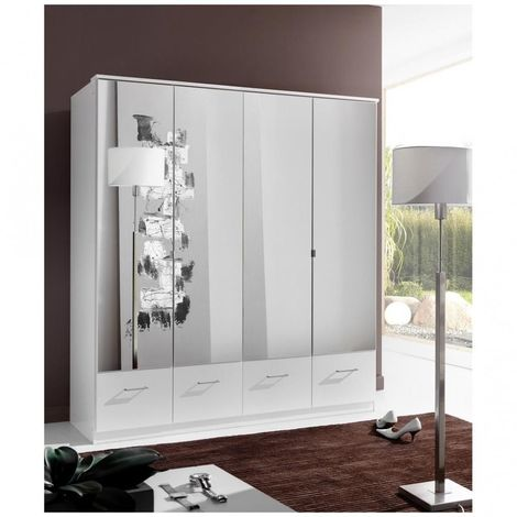 Armoire penderie DINGLE 4 portes miroirs 4 tiroirs largeur 179 blanche
