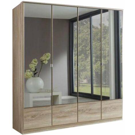 Armoire penderie DINGLE 4 portes miroirs largeur 179 chêne