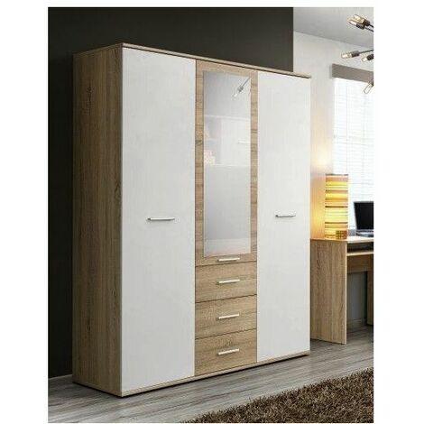 Armoire-penderie - DINO - 135 cm x 191 cm x 55 cm - Chêne et blanc - Livraison gratuite