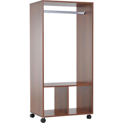 Armoire penderie étagère 2 niches penderie 4 roulettes pivotantes dim. 60L x 40l x 128H cm coloris chêne moyen