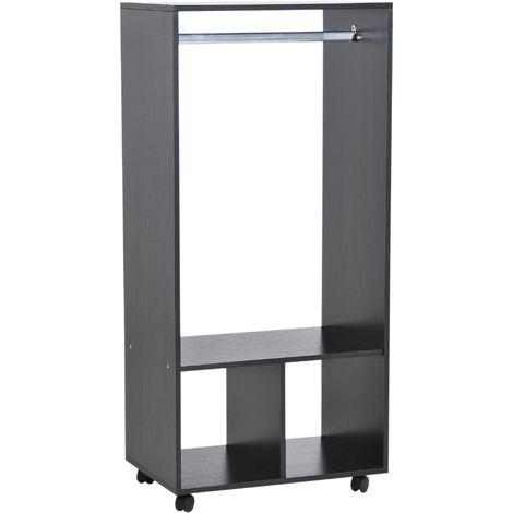 Armoire penderie étagère 2 niches penderie 4 roulettes pivotantes dim. 60L x 40l x 128H cm noir