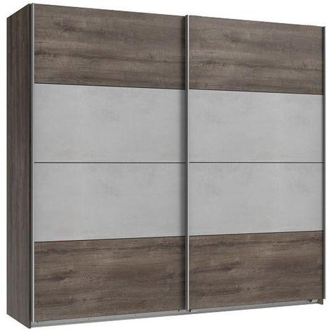 Armoire penderie JANA portes coulissantes largeur 225 chêne châtaigne / gris béton