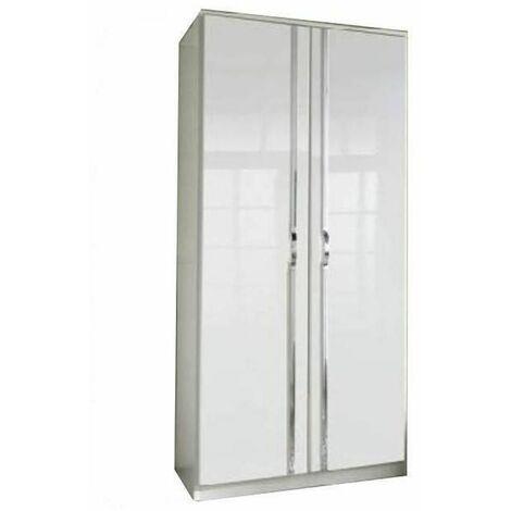 Armoire penderie KROOS 2 portes laquées blanc brillant