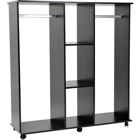 Armoire penderie meuble de rangement en panneau de particule mobile avec 6 roulettes sans porte 120x40x128cm noir