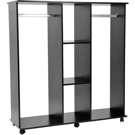 Armoire penderie meuble de rangement en panneau de particule mobile avec 6 roulettes sans porte 120x40x128cm noir - Noir