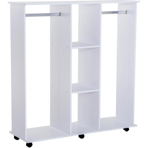Armoire penderie meuble de rangement mobile 6 roulettes 120L x 40l x 128H cm panneau de particules blanc